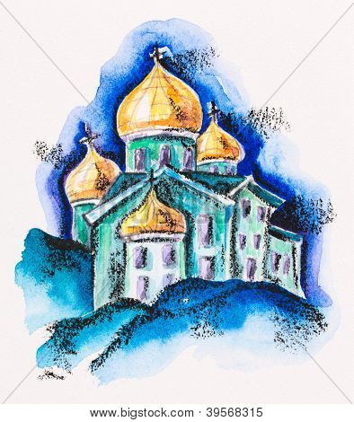 Temple building with golden cupola, watercolor with slate-pencil painting