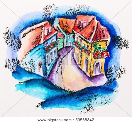 Fairy town street with flowered balcony houses, watercolor with slate-pencil painting