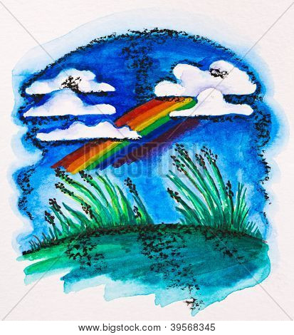 Rainbow over green meadow, watercolor with slate-pencil painting