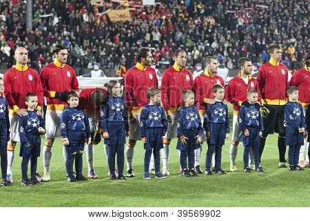 CLUJ-NAPOCA, ROMANIA - NOVEMBER 7: Galatasaray team in UEFA Champions League, CFR 1907 Cluj vs Galatasaray,  on 7 Nov., 2012 in Cluj-Napoca, Romania