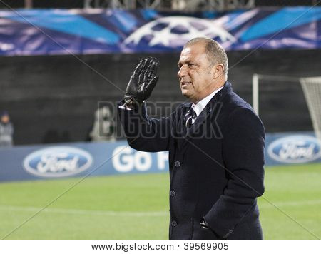 CLUJ-NAPOCA, ROMANIA - NOVEMBER 7: Fatih Terim in UEFA Champions League match between CFR 1907 Cluj vs Galatasaray,  on 7 Nov., 2012 in Cluj-Napoca, Romania