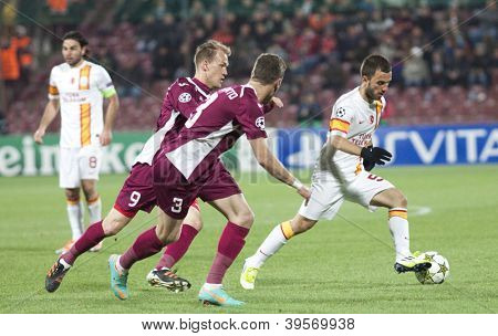 CLUJ-NAPOCA, ROMANIA - NOVEMBER 7: Kapetanos, Ivo Pinto and Piccolo in UEFA Champions League match between CFR 1907 Cluj vs Galatasaray,  on 7 Nov., 2012 in Cluj-Napoca, Romania