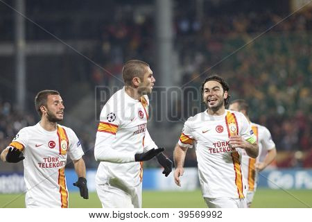 CLUJ-NAPOCA, ROMANIA - NOVEMBER 7: Burak Yilmaz and Selcuk Inan in UEFA Champions League match between CFR 1907 Cluj vs Galatasaray,  on 7 Nov., 2012 in Cluj-Napoca, Romania