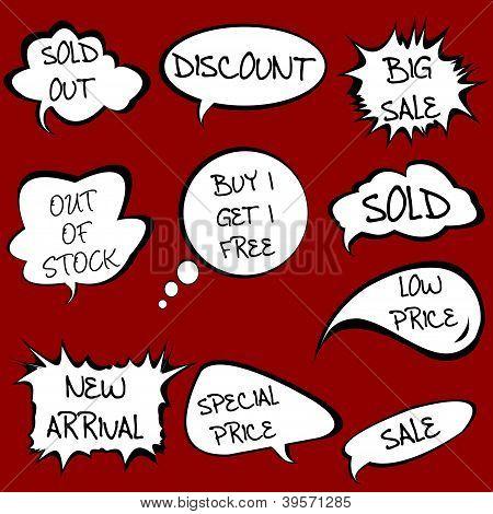 Speech Bubbles Set With Sale Messages