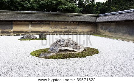 Ryoanji Temple.in A Garden Fifteen Stones On White Gravel. Kyoto.japan.