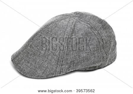 a gray flat cap on a white background