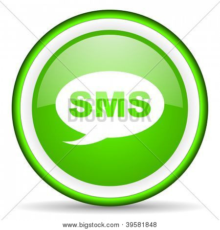 sms green glossy icon on white background