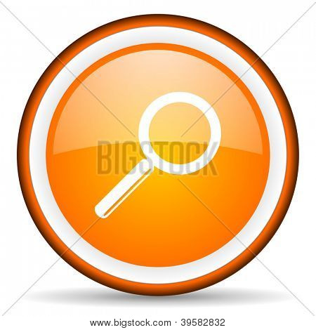 search orange glossy circle icon on white background
