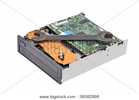 Dvd disk drive and wrench