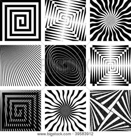 Abstract backdrops set. Rotation, spiral and radial motion illusion. Vector art.