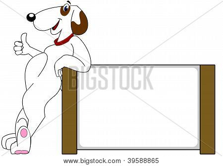 Dog and Blank Sign