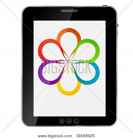 Concept of colorful circular banners in flower form for different business design on abstract tablet