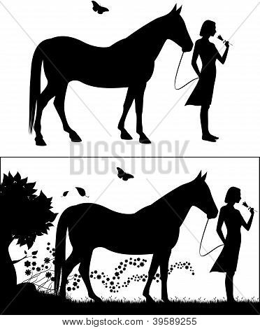 Woman With Horse Silhouette