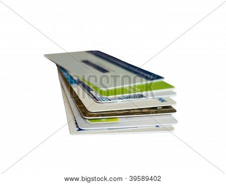 Plastic cards isolated on white