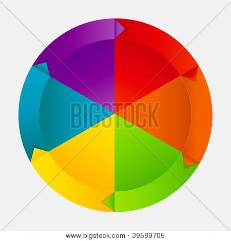 Concept of colorful circular banners with arrows for different business design. Vector illustration