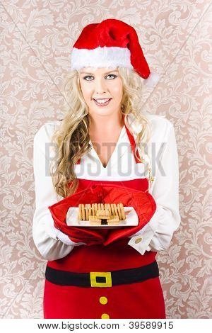 Retro Housewife Baking Christmas Cookies