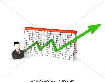 Three Dimensional Man With Progress Graph
