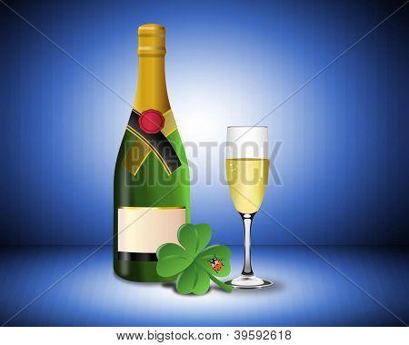 Happy new year with champagne shamrock and ladybug