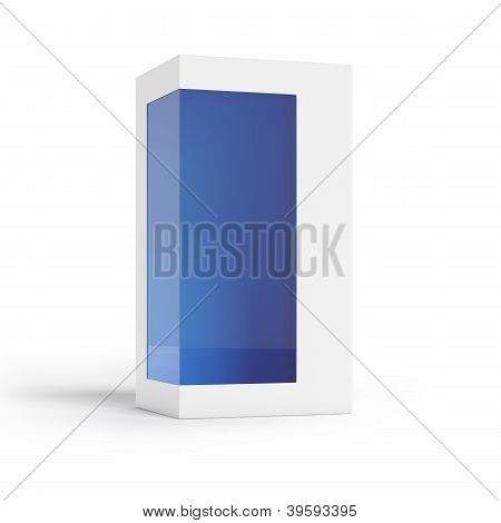 Cardboard package with transparent window and blue inside