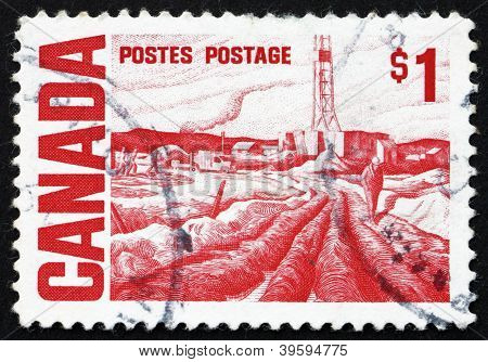 Postage stamp Canada 1967 Oilfield near Edmonton, Painting by Glyde