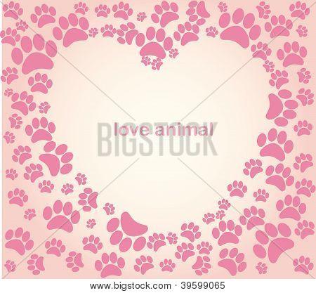 Heart animal's footprints illustration vector