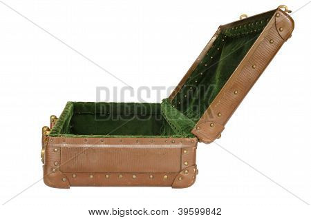 old open suitcase isolated