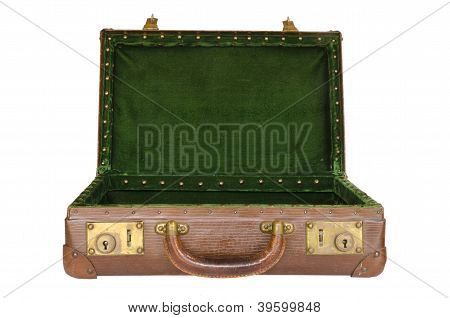 old worn open suitcase with green interior