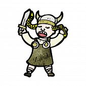 image of valkyrie  - cartoon singing viking girl - JPG