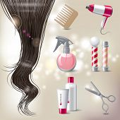 Hair care icons set