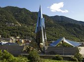stock photo of building exterior  - Futuristic building in the fantastic surroundings of Escaldes  - JPG