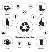stock photo of waste management  - Vector icon set of recyclable materials for waste management labels - JPG