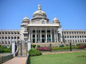 picture of vidhana soudha  - A view of the famous Vidhana Soudha the Legislature and Secretariat building in Bangalore city Karnataka State India - JPG