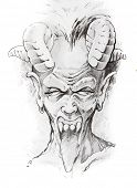 image of warlock  - Tattoo sketch of devil head - JPG