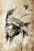 image of indian chief  - Sketch of tattoo art - JPG
