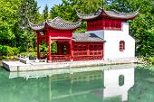 pic of dialect  - HDR Image of a Chinese temple in a garden behind a pool of water with the reflection of the temple in water - JPG
