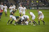 TWICKENHAM LONDON - NOVEMBER 23: English players collapse Maul at England vs South Africa, England p