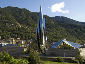 picture of building exterior  - Futuristic building in the fantastic surroundings of Escaldes  - JPG