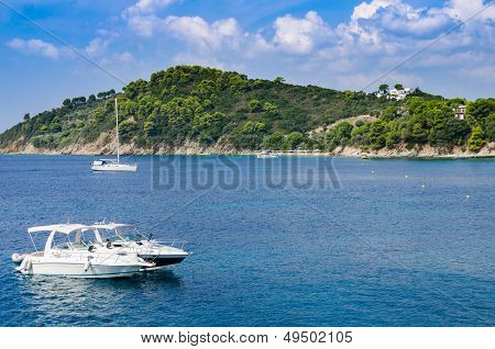 Blue Sea And Boat Background