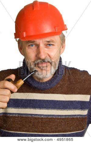 Elderly Smiling Worker