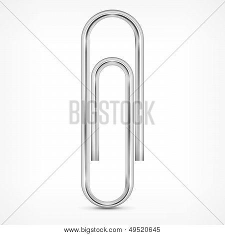 Metallic Paperclip On White