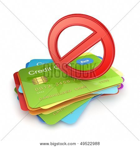 Red symbol of ban on colorful credit cards.
