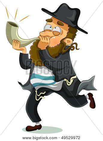 jewish man with shofar