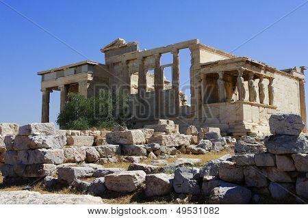 Caryatids and Erechtheion temple, Acropolis,Greece