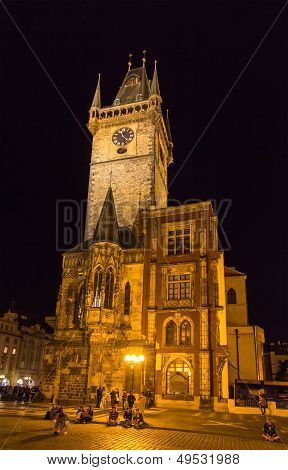 Prague Town Hall On Summer Night - Cheque