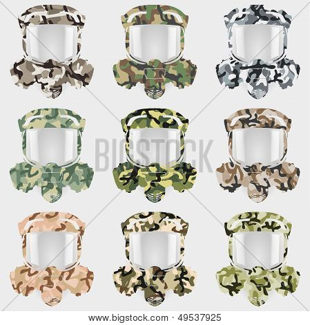 Set of gas mask of camouflage