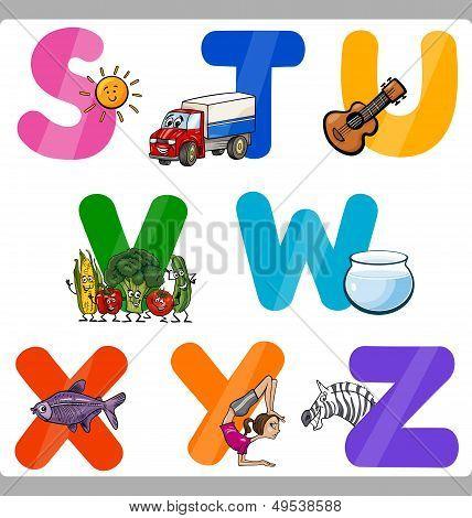Educación las letras del alfabeto de dibujos animados para niños