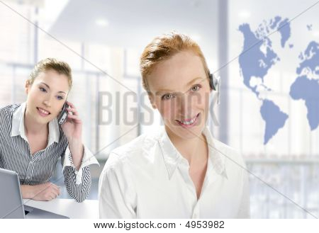 Modern Office, Two Beautiful Businesswoman