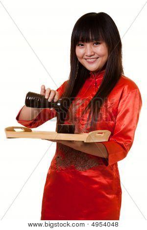 Serving Saki