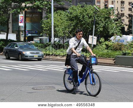 Unknown Citi bike rider in Manhattan