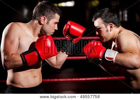 Male boxers during a fight